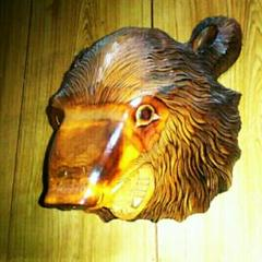 "Thumbnail of ""1木彫り 熊 彫刻 くま クマ置物 レリーフ 壁飾り オブジェ 民芸 昭和レトロ"""