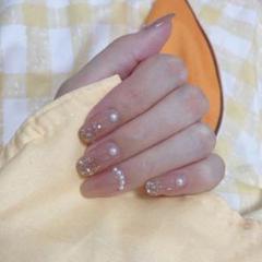 """Thumbnail of """"パッチブライド穏やかな真珠の白いヌードドレッシングネイル妊娠中の女性の偽の爪1"""""""
