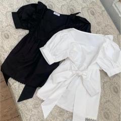 """Thumbnail of """"Treat ürself back ribbon tunic blouse"""""""