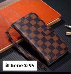 "Thumbnail of ""チェック柄 手帳型 iPhoneケース (iPhoneX/XS ブラウン)"""