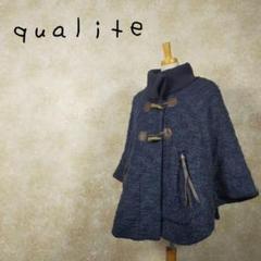 "Thumbnail of ""qualité カリテ ウール ポンチョ レザー サイズM タイコーズ ブルー"""
