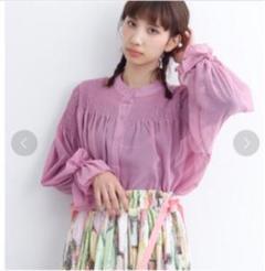 """Thumbnail of """"merlot シフォンデコルテギャザーブラウス(ピンク)"""""""