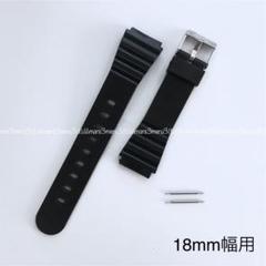 "Thumbnail of ""ブラック♪樹脂製ベルト黒♪取付幅18mm☆バネ棒2本付属,交換ベルト腕時計ベルト"""