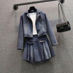 """Thumbnail of """"春のスーツ女性のショートデニムジャケット、プリーツスカートのツーピース3"""""""