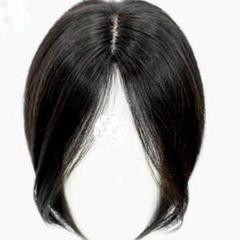 "Thumbnail of ""★全人毛★人工皮膚分け目★髪の長さ22~24cm自然な黒髪のウィッグ"""