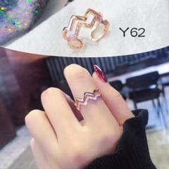 "Thumbnail of ""Y62☆銅素材 2連 ジルコニア シンプル 指輪 リング ピンクゴールド"""
