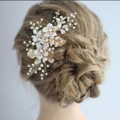 "Thumbnail of ""ウェディング☆ボンネヘアアクセサリーブライダル髪飾りゴールドヘッドドレス結婚式"""
