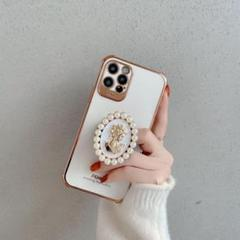 "Thumbnail of ""iPhone12proケース  ホルダー付き  珍珠 白"""