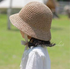 """Thumbnail of """"新品 ❁麦わら帽子リボン付き brown 52㎝ キッズ帽子 韓国子供服"""""""