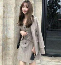 "Thumbnail of ""新韓国 ファッション レディース セットアップ チェック ジャケット ワンピb"""