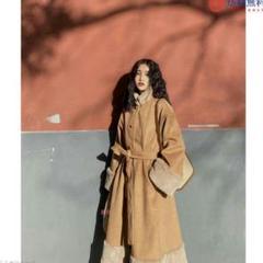 """Thumbnail of """"FG12のカーキ色のウールのコート冬のく中程度の長さのステッチ気質コートの女e"""""""