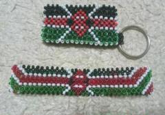 "Thumbnail of ""ケニア  ブレスレッド キーホルダー マラソン お守り 希少アクセサリー セット"""