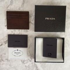 "Thumbnail of ""プラダ PRADA カードケース新品 ブラウン 高級本革メンズレディースOK"""