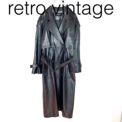"""Thumbnail of """"W2096*vintage 羊革 ダブル ロングレザーコート 黒ブラック 9"""""""