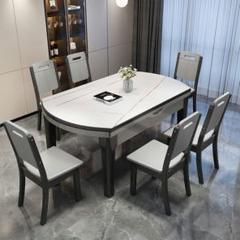 "Thumbnail of ""岩板のダイニングテーブルと椅子の組み合わせ現代のシンプルな伸縮家庭用小型坪型折"""
