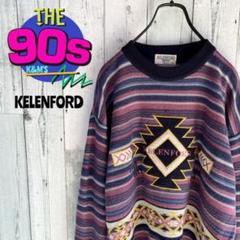 """Thumbnail of """"90's  KELENFORD ロゴ刺繍 日本製 派手 奇抜 デザインニット"""""""