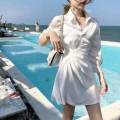 "Thumbnail of ""春の夏の新型のワイシャツの襟の白色のワンピースの女性のスカート90"""