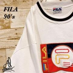 """Thumbnail of """"《イタリア製》OLD FILA フィラ スウェット XL☆ホワイト 白 刺繍ロゴ"""""""