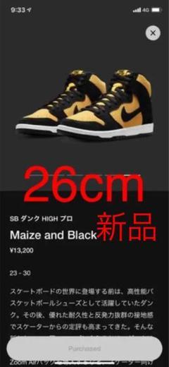 "Thumbnail of ""NIKE SB DUNK High maize and black 26cm"""