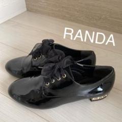 "Thumbnail of ""RANDA ランダ ビジューレースアップ オックスフォード 黒"""