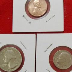 "Thumbnail of ""アメリカコイン 25セント 硬貨 10セント硬貨 1セントの 3点セット"""