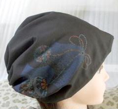 "Thumbnail of ""大島紬 難有難隠し 帽子 62㌢ 黒 毬意匠 キャップ 室内帽子 シルク"""