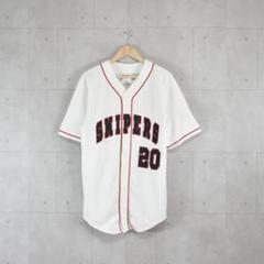 "Thumbnail of ""ベースボールシャツ 刺繍ロゴ ホワイト チーム ストリート 20番 チームワーク"""