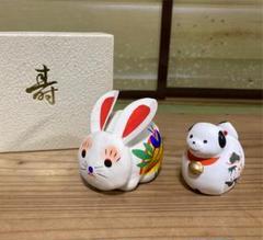"Thumbnail of ""干支の置物、土鈴 ウサギと犬 2体"""