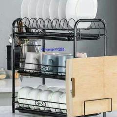 """Thumbnail of """"水切りラック 食器棚 水切り棚 キッチン収納 多目的 3段 カフェ ブラ5"""""""