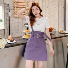 """Thumbnail of """"夏の新しい外国の遠ざけば紫色のストラップドレス白いTシャツの2ピース3"""""""