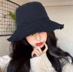 "Thumbnail of ""フリンジハット オシャレ 韓国ファッション 帽子 小顔 ブラック"""