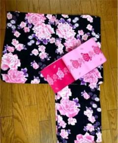 """Thumbnail of """"濃紺にピンクのバラが華やかな浴衣と帯のセット"""""""
