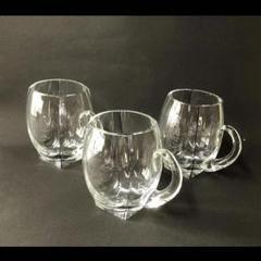 """Thumbnail of """"e1048 グラス 3個 昭和レトロ カットガラス 古いガラス 持ち手付グラス"""""""