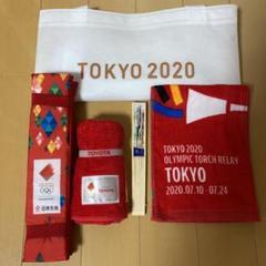 """Thumbnail of """"聖火リレー TOKYO東京オリンピック タオル 扇子 座布団"""""""