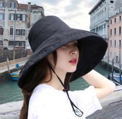 "Thumbnail of ""レディース ハット 帽子 UVカット つば広 日焼け防止 小顔効果 黒 女優帽"""
