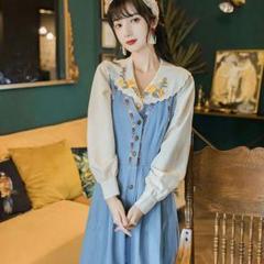 """Thumbnail of """"フランスのレトロなスーツはスリムなワンピース刺繍のシャツデニムのロングスカート"""""""