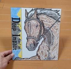 """Thumbnail of """"(1400円です)【ディープインパクト】JRA競馬 競走馬色紙イラスト"""""""