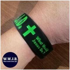 "Thumbnail of ""W.W.J.D. シリコンラバーブレスレット Black×Green 幅広タイプ"""