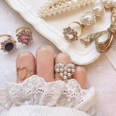"""Thumbnail of """"パールハートの女の子リング 指輪 ハンドメイド 量産 量産型 ハート シンプル"""""""