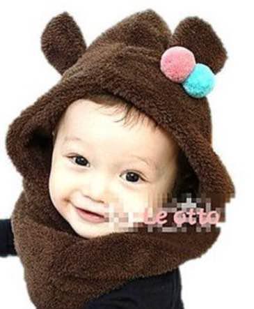 923f18dc437b2 メルカリ - 赤ちゃん子供 フワモコクマさんフードウォーマーニット帽 ...