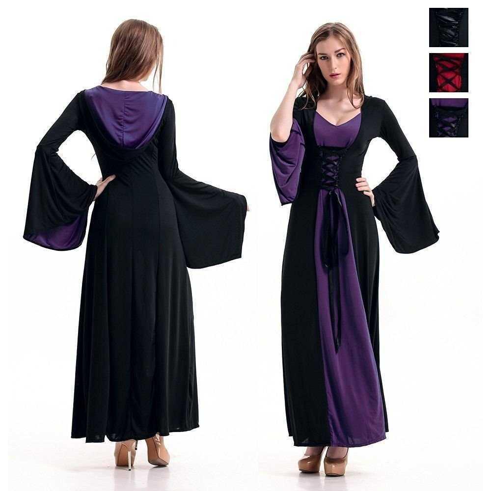 ハロウィン 衣装 中世 セレブドレス フード コスプレ 魔女 仮装 紫(¥2,980) , メルカリ スマホでかんたん フリマアプリ