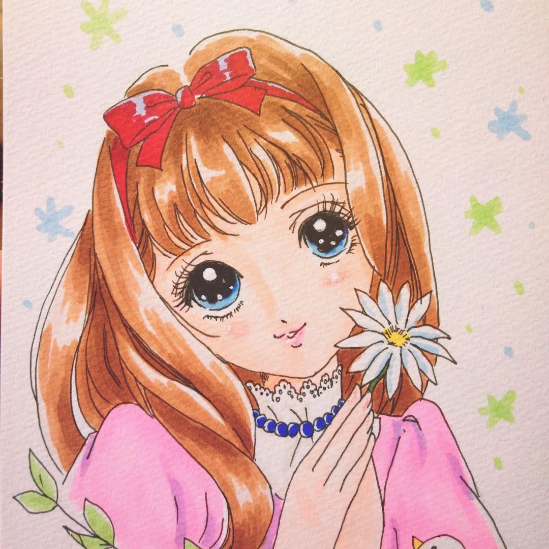 メルカリ 手描きイラスト 高橋真琴風 女の子 アート写真 300