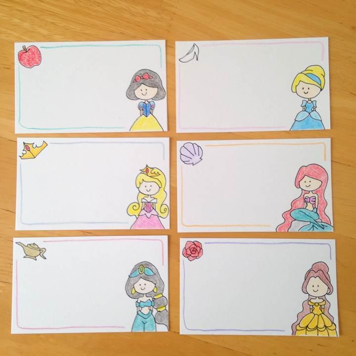 12枚 手描き メッセージカード ディズニー 風