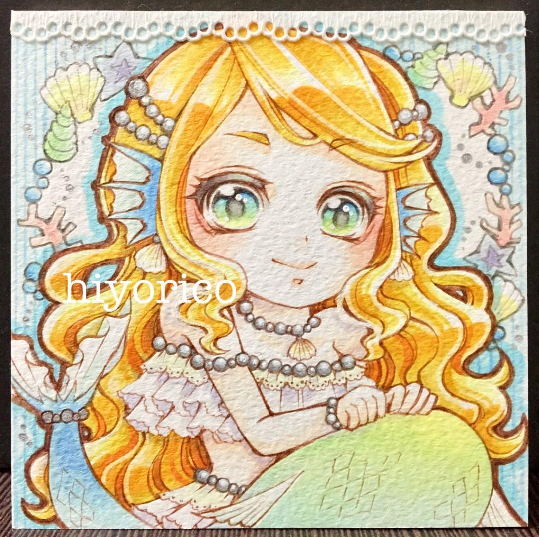 メルカリ 手描きイラスト 人魚姫 豆色紙 オリジナル アート 写真 900 中古や未使用のフリマ