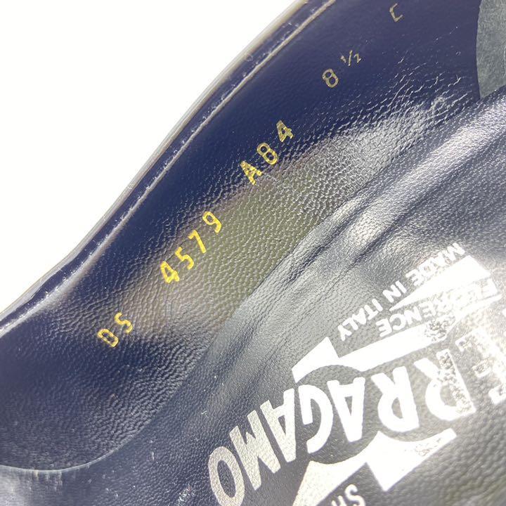★美品★フェラガモ パンプス 25.5 黒 エナメル ヴァラ レディース 靴
