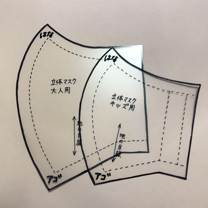 手作りマスク型紙 立体