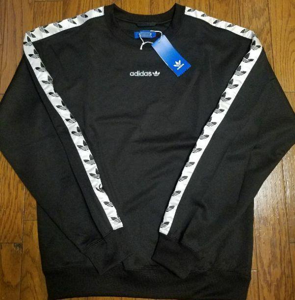 アディダスオリジナルス ロゴ テープクルー スウェットシャツ 黒(¥12,980) , メルカリ スマホでかんたん フリマアプリ