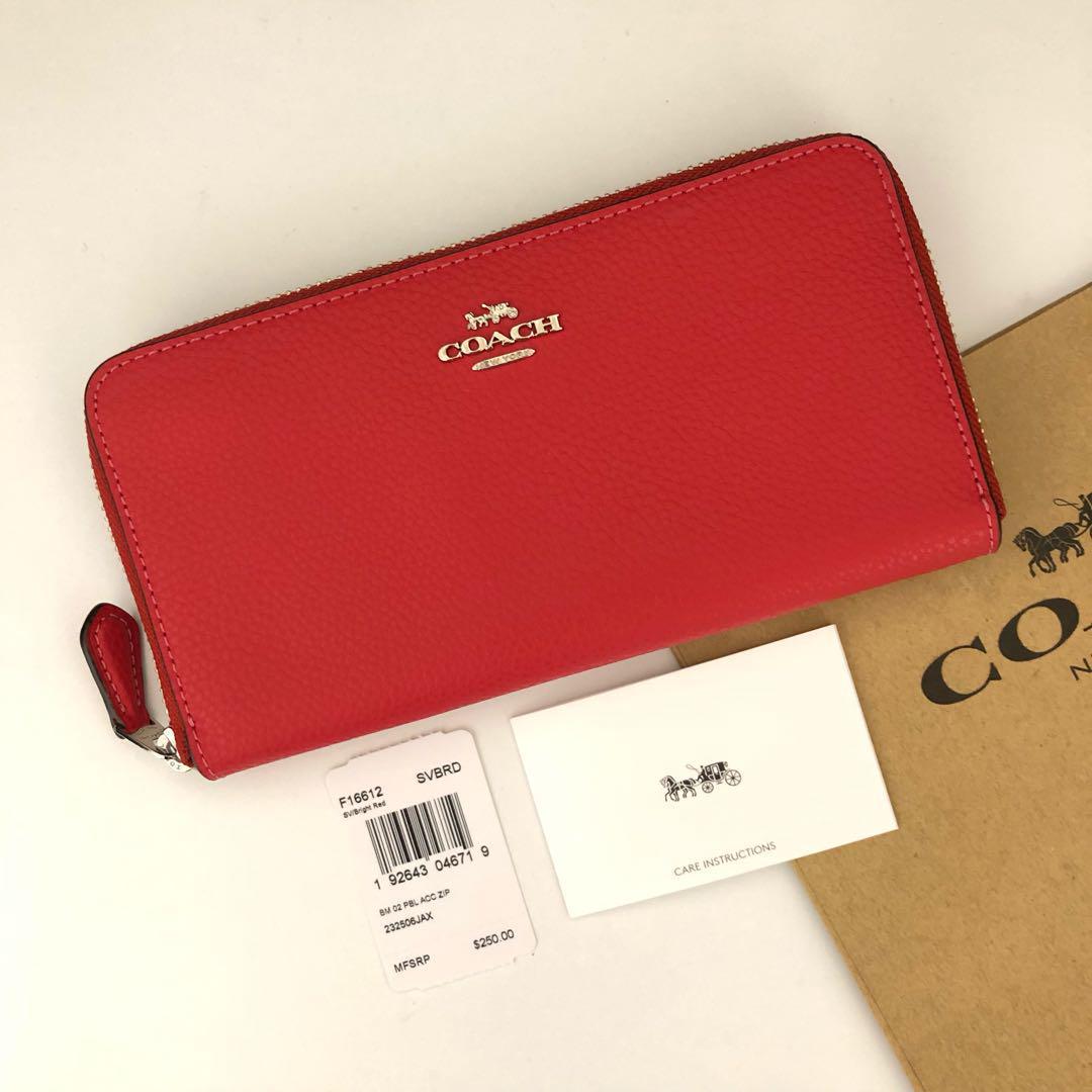 quality design 2f3f5 ad2aa COACH コーチ 長財布 ブライトレッド 赤 ペブルレザー(¥15,900) - メルカリ スマホでかんたん フリマアプリ