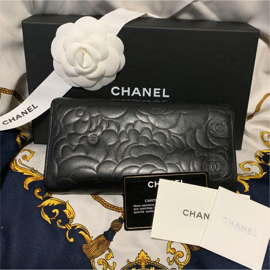 san francisco 495fe fd6da CHANEL シャネル カメリア 長財布 フラップ ブラック 正規品 二つ折(¥30,000) - メルカリ スマホでかんたん フリマアプリ