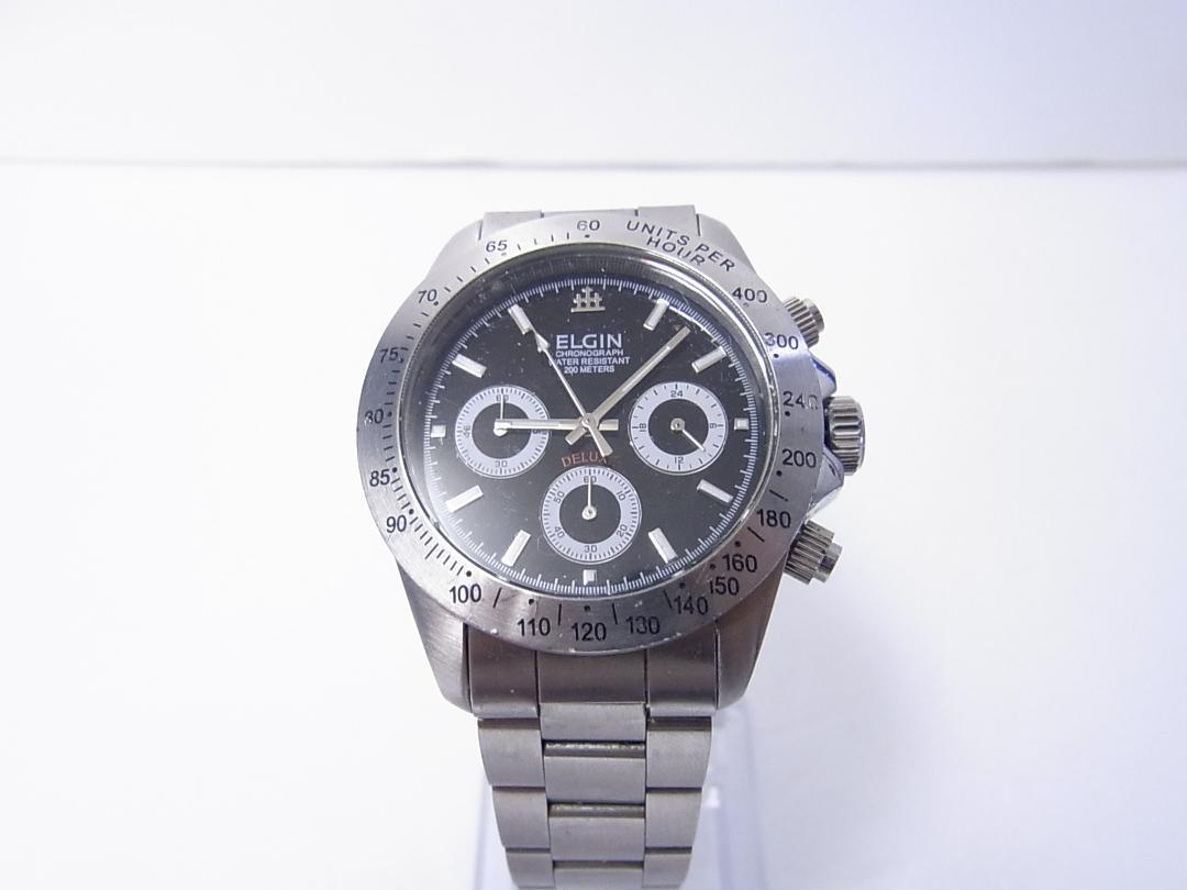 sports shoes c84fd 9fd3c ELGIN メンズ腕時計 クロノグラフ デイトナ風です♪(¥2,500) - メルカリ スマホでかんたん フリマアプリ